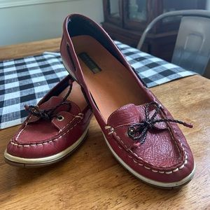 Red Sperry Loafers